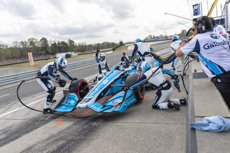 April 07, 2019 - Birmingham, Alabama, USA: MAX CHILTON (59) of England brings his car in for service during the Honda Indy Grand Prix of Alabama at Barber Motorsports Park in Birmingham Alabama.
