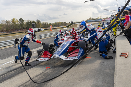 April 07, 2019 - Birmingham, Alabama, USA: MATHEUS LEIST (4) of Brazil brings his car in for service during the Honda Indy Grand Prix of Alabama at Barber Motorsports Park in Birmingham Alabama. Editorial