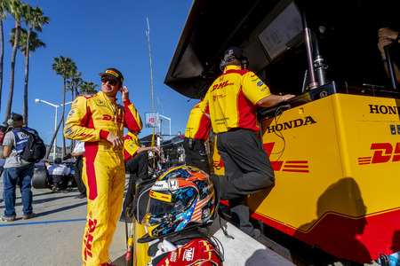 April 13, 2019 - Long Beach, California, USA: RYAN HUNTER-REAY (28) of the United States prepares to qualify for the Acura Grand Prix Of Long Beach at Streets of Long Beach in Long Beach, California.