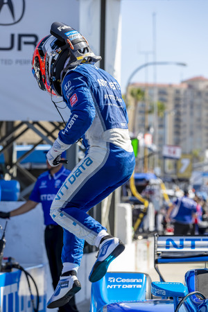 April 13, 2019 - Long Beach, California, USA: FELIX ROSENQVIST (R) (10) of Sweden prepares to qualify for the Acura Grand Prix Of Long Beach at Streets of Long Beach in Long Beach, California. Editorial