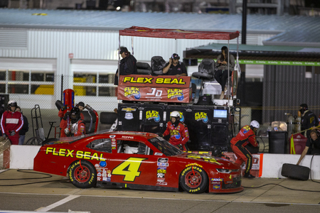 April 12, 2019 - Richmond, Virginia, USA: Ross Chastain (4) and crew make a pit stop for the ToyotaCare 250 at Richmond Raceway in Richmond, Virginia.