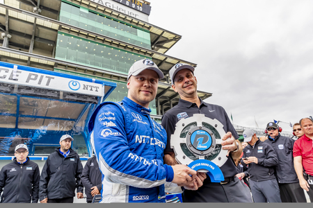 May 10, 2019 - Indianapolis, North Carolina, USA: FELIX ROSENQVIST (R) (10) of Sweden wins the pole for the IndyCar Grand Prix of Indianpolis at Indianapolis Motor Speedway in Indianapolis, North Carolina.