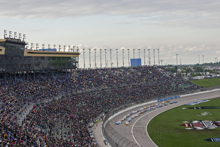 The Monster Energy NASCAR Cup Series teams take to the track for the Digital Ally 400 at Kansas Speedway in Kansas City, Kansas.