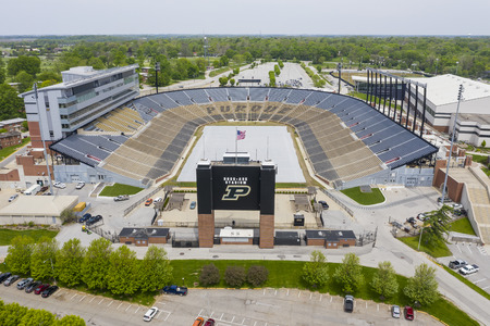 May 16, 2019 - West Lafayette, Indiana, USA: Aerial Views of Ross–Ade Stadium West Lafayette, Indiana, on the campus of Purdue University. It is the home field of Purdue Boilermakers football. Editorial