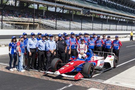May 18, 2019 - Indianapolis, Indiana, USA: TONY KANAAN (14) of Brazil poses for photographs after qualifying for the Indianapolis 500 at Indianapolis Motor Speedway in Indianapolis, Indiana.