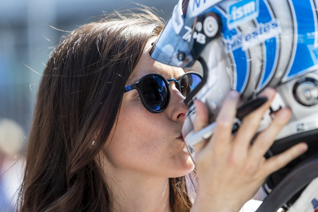 May 18, 2019 - Indianapolis, Indiana, USA: Lauren Bohlander, wife of TONY KANAAN (14) of Brazil  gives his a kiss as he prepares to qualify for the Indianapolis 500 at Indianapolis Motor Speedway in Indianapolis, Indiana. Redakční