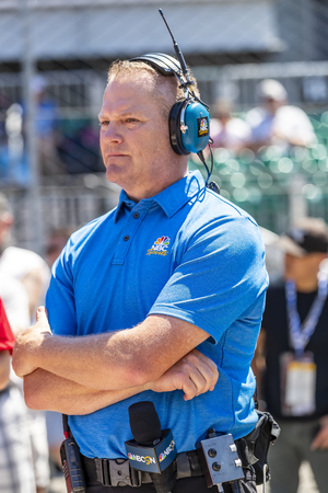 May 18, 2019 - Indianapolis, Indiana, USA: Announcer and commentator, Marty Snider, watches as the NTT IndyCar Series teams prepare to qualify for the Indianapolis 500 at Indianapolis Motor Speedway in Indianapolis, Indiana. Editorial