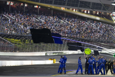 May 18, 2019 - Concord, North Carolina, USA: Kyle Larson (42) wins the Monster Energy All-Star Race at Charlotte Motor Speedway in Concord, North Carolina. 報道画像