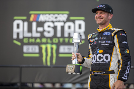 May 17, 2019 - Concord, North Carolina, USA: Clint Bowyer (14) wins the Pole Award for the Monster Energy All-Star Race at Charlotte Motor Speedway in Concord, North Carolina.