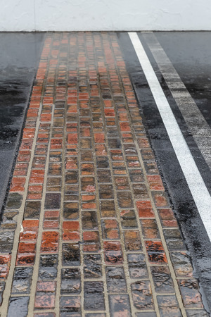 May 19, 2019 - Indianapolis, Indiana, USA: May 18, 2019; Indianapolis, IN, USA; Rain falls on the yard of bricks causing a weather delay before the second day of qualifying for the 103rd Running of the Indianapolis 500 at Indianapolis Motor Speedway Editorial