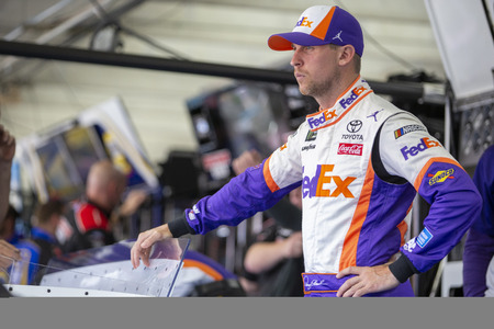 May 17, 2019 - Concord, North Carolina, USA: Denny Hamlin (11) gets ready to practice for the Monster Energy All-Star Race at Charlotte Motor Speedway in Concord, North Carolina.
