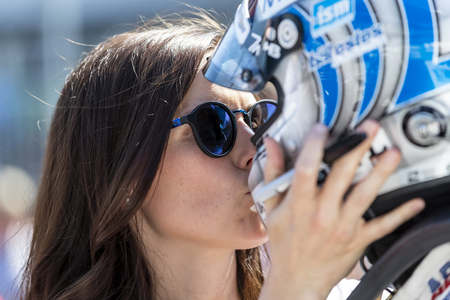 May 18, 2019 - Indianapolis, Indiana, USA: Lauren Bohlander, wife of TONY KANAAN (14) of Brazil  gives his a kiss as he prepares to qualify for the Indianapolis 500 at Indianapolis Motor Speedway in I 에디토리얼