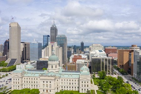 May 22, 2019 - Indianapolis, Indiana, USA: The city of Indianapolis, Indiana on a  beautiful summers day.default Editorial