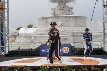 June 01, 2019 - Detroit, Michigan, USA: JOSEF NEWGARDEN (2) of the United States wins the Detroit Grand Prix at the Detroit Grand Prix at Belle Isle in Detroit, Michigan. 報道画像