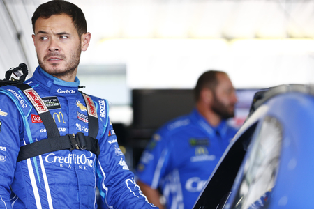 May 31, 2019 - Long Pond, Pennsylvania, USA: Kyle Larson (42) gets ready to practice for the Pocono 400 at Pocono Raceway in Long Pond, Pennsylvania.