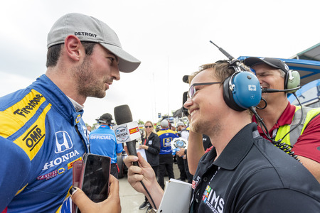 June 01, 2019 - Detroit, Michigan, USA: ALEXANDER ROSSI (27) of the United States wins the pole for the Detroit Grand Prix at Belle Isle in Detroit, Michigan.