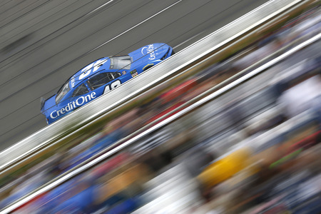 June 02, 2019 - Long Pond, Pennsylvania, USA: Kyle Larson (42) races down the front stretch during the Pocono 400 at Pocono Raceway in Long Pond, Pennsylvania.