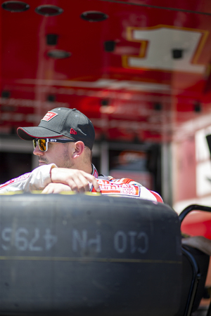June 07, 2019 - Brooklyn, Michigan, USA: Michael Annett (1) takes to the track to practice for the LTi Printing 250 at Michigan International Speedway in Brooklyn, Michigan.