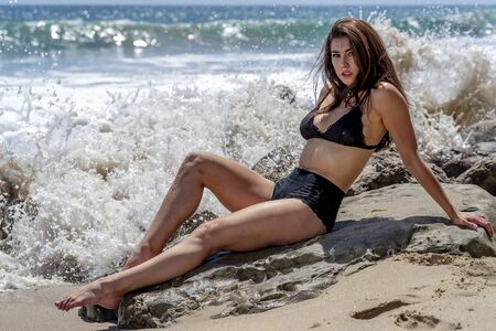 A gorgeous brunette bikini model lounging on the shoreline at the beach on a sunny day
