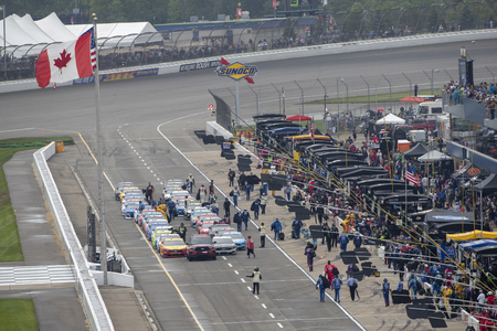June 09, 2019 - Brooklyn, Michigan, USA: The FireKeepers Casino 400 gets a delayed start due to weather at Michigan International Speedway in Brooklyn, Michigan. Редакционное