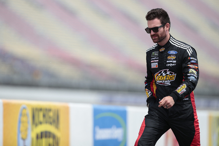 June 08, 2019 - Brooklyn, Michigan, USA: Corey LaJoie (32) gets ready to qualify for the FireKeepers Casino 400 at Michigan International Speedway in Brooklyn, Michigan. Editorial