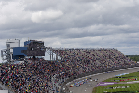 June 10, 2019 - Brooklyn, Michigan, USA: The Monster Energy NASCAR Cup Series teams take to the track for the FireKeepers Casino 400 at Michigan International Speedway in Brooklyn, Michigan.
