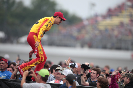 June 09, 2019 - Brooklyn, Michigan, USA: Joey Logano (22) gets introduced for the FireKeepers Casino 400 at Michigan International Speedway in Brooklyn, Michigan.