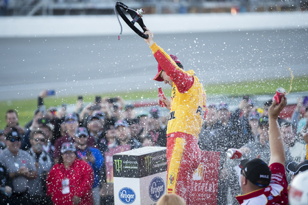 June 10, 2019 - Brooklyn, Michigan, USA: Joey Logano (22) wins the FireKeepers Casino 400 at Michigan International Speedway in Brooklyn, Michigan.