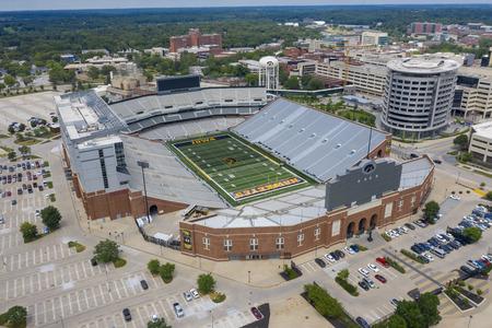 July 21, 2019 - Iowa City, Iowa, USA: Aerial Views Kinnick Stadium, formerly known as Iowa Stadium, is a stadium located in Iowa City, Iowa, United States. It is the home stadium of the University of Iowa Hawkeyes.