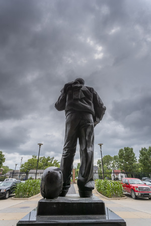 July 21, 2019 - Iowa City, Iowa, USA: Statue of Nile Clarke Kinnick Jr. who was a student and a college football player at the University of Iowa. He won the 1939 Heisman Trophy and died during while serving as a Naval Aviator in World War II. Editorial