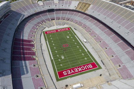 July 25, 2019 - Columbus, Ohio, USA: Aerial view of Ohio Stadium, also known as the Horseshoe, the Shoe, and the House That Harley Built, is an American football stadium in Columbus, Ohio, on the campus of The Ohio State University. Stock fotó - 127776402
