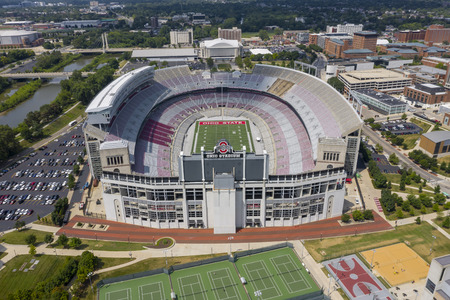 July 25, 2019 - Columbus, Ohio, USA: Aerial view of Ohio Stadium, also known as the Horseshoe, the Shoe, and the House That Harley Built, is an American football stadium in Columbus, Ohio, on the campus of The Ohio State University.