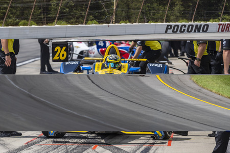 August 17, 2019 - Long Pond, Pennsylvania, USA: SANTINO FERRUCCI (19) (R) of the United States  practices for the ABC Supply 500 at Pocono Raceway in Long Pond, Pennsylvania.