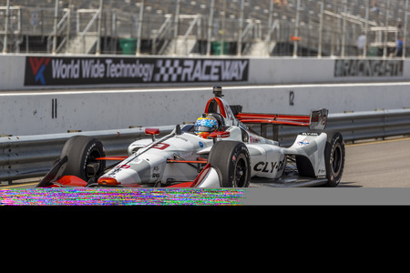 August 23, 2019 - Madison, Illinois, USA: SANTINO FERRUCCI (19) (R) of the United States  practices for the Bommarito Automotive Group 500 at World Wide Technology Raceway in Madison, Illinois. Editöryel
