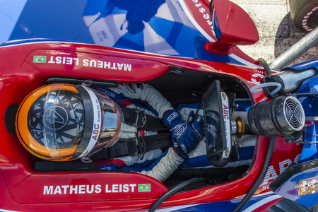 September 20, 2019 - Salinas, California, USA: MATHEUS LEIST (4) of Novo, Hamburgo Brazil  prepares to practice for the Firestone Grand Prix of Monterey at Weathertech Raceway Laguna Seca in Salinas, California.