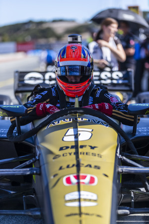 September 20, 2019 - Salinas, California, USA: JAMES HINCHCLIFFE (5) of Toronto, Canada  prepares to practice for the Firestone Grand Prix of Monterey at Weathertech Raceway Laguna Seca in Salinas, California. Editorial