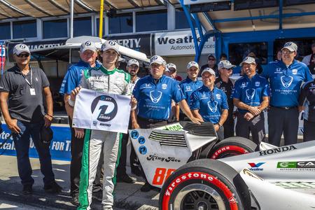 September 21, 2019 - Salinas, California, USA: COLTON HERTA (88) (R) of The United States  wins the pole for the Firestone Grand Prix of Monterey at Weathertech Raceway Laguna Seca in Salinas, California. Editöryel