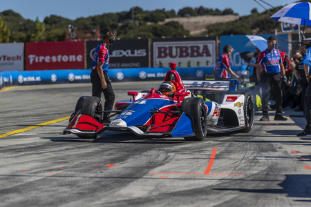 September 20, 2019 - Salinas, California, USA: MATHEUS LEIST (4) of Novo, Hamburgo Brazil  prepares to practice for the Firestone Grand Prix of Monterey at Weathertech Raceway Laguna Seca in Salinas,  報道画像
