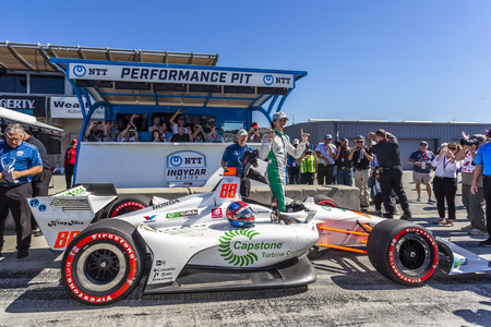September 21, 2019 - Salinas, California, USA: COLTON HERTA (88) (R) of The United States  wins the pole for the Firestone Grand Prix of Monterey at Weathertech Raceway Laguna Seca in Salinas, Califor