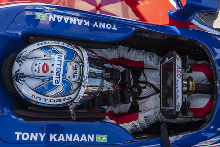 September 20, 2019 - Salinas, California, USA: TONY KANAAN (14) of Salvador, Brazil  prepares to practice for the Firestone Grand Prix of Monterey at Weathertech Raceway Laguna Seca in Salinas, Califo 報道画像