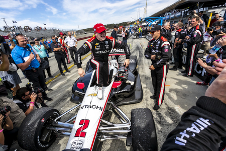 September 22, 2019 - Salinas, California, USA: An emotional JOSEF NEWGARDEN (2) of the United States ,  wins the NTT IndyCar Series at the Firestone Grand Prix of Monterey at Weathertech Raceway Lagun 報道画像