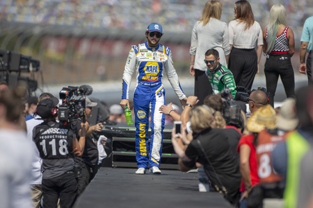 September 30, 2019 - Concord, North Carolina, USA: Chase Elliott (9) gets introduced for the Bank of America ROVAL 400 at Charlotte Motor Speedway in Concord, North Carolina.