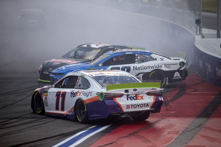September 29, 2019 - Concord, North Carolina, USA: Denny Hamlin (11), Alex Bowman (88) and Erik Jones (20) wreck during the Bank of America ROVAL 400 at Charlotte Motor Speedway in Concord, North Caro