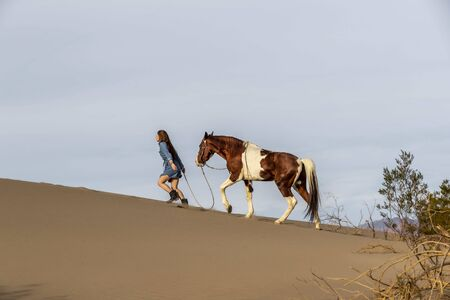 A young brunette female spends time with her horse in a desert environment Banque d'images