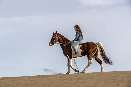 A young brunette female spends time with her horse in a desert environment Фото со стока