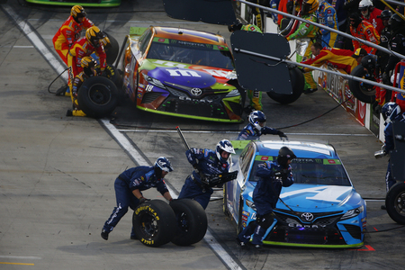 October 27, 2019 - Martinsville, Virginia, USA: Martin Truex Jr. (19) makes a pit stop for the First Data 500 at Martinsville Speedway in Martinsville, Virginia.