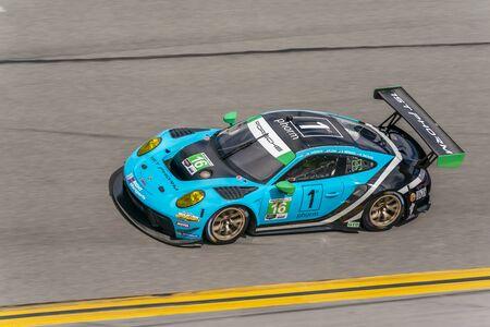 January 03, 2020 - Daytona Beach, Florida, USA: The Wright Motorsports Porsche 911 GT3 R car  practice for the Roar Before The Rolex 24 at Daytona International Speedway in Daytona Beach, Florida.