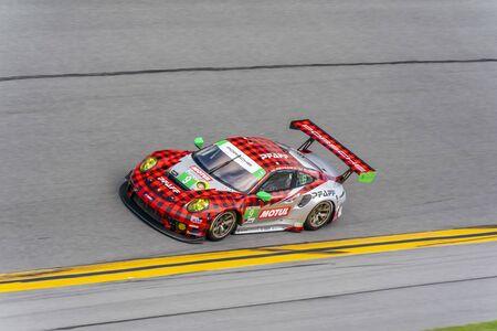 January 03, 2020 - Daytona Beach, Florida, USA: The Pfaff Motorsports Porsche 911 GT3 R car practice for the Roar Before The Rolex 24 at Daytona International Speedway in Daytona Beach, Florida.