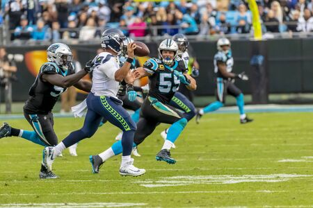 November 25, 2018 - Russell WILSON (3) plays against the Carolina Panthers at Bank Of America Stadium in Charlotte, NC.  The Panthers lose to the Seahawks, 30-27. Editorial