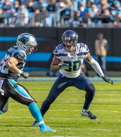November 25, 2018 - Bradley MCDOUGALD (30) plays against the Carolina Panthers at Bank Of America Stadium in Charlotte, NC.  The Panthers lose to the Seahawks, 30-27. Editorial